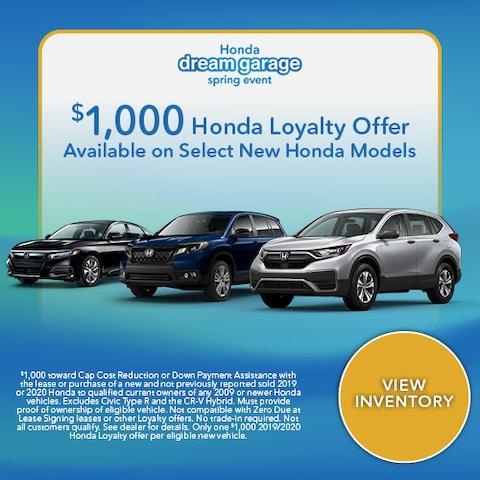 $1,000 Honda Loyalty Offer