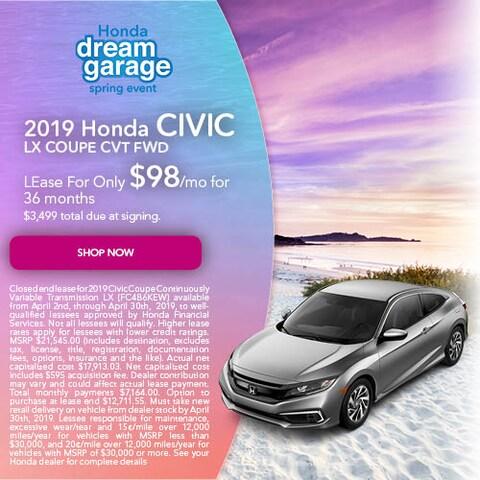 April 2019 Honda Civic LX Coupe CVT FWD