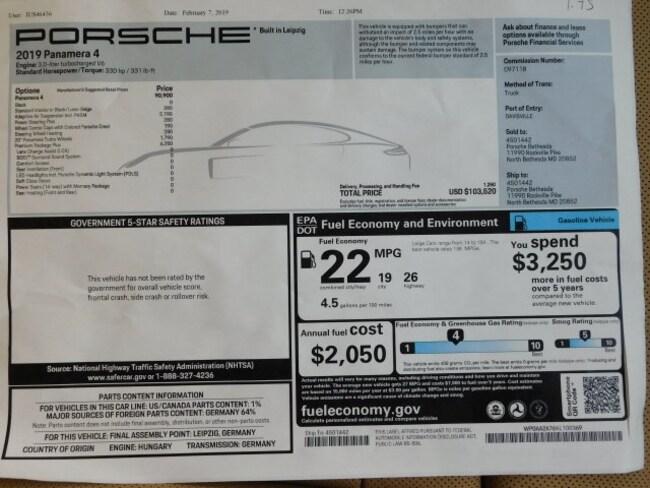 New 2019 Porsche Panamera in North Bethesda MD | Stock: KL100369