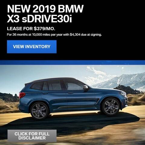 2019 BMW X3 sDrive30i - Lease