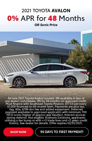 Financing Offer : 0.0% APR for 48 months on select Toyota Avalon models