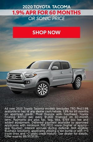 Financing Offer : 1.9% APR for 60 months on select Toyota Tacoma models
