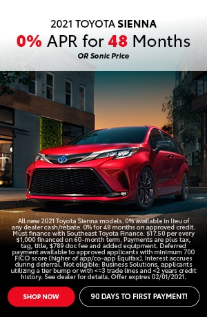 Financing Offer : 0.0% APR for 48 months on select Toyota Sienna models