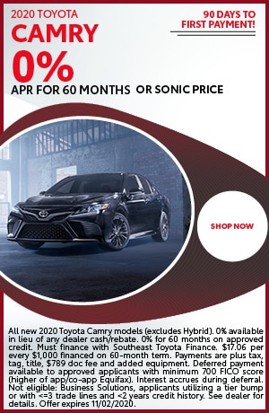 Financing Offer : 0.0% APR for 60 months on select Toyota Camry models