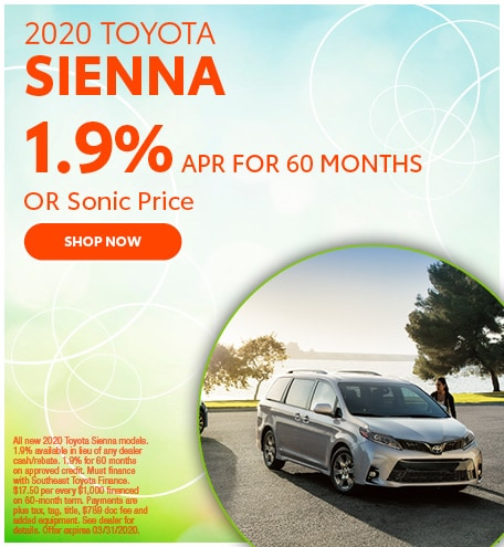 Financing Offer : 0.9% APR for 48 months on select Toyota Sienna models