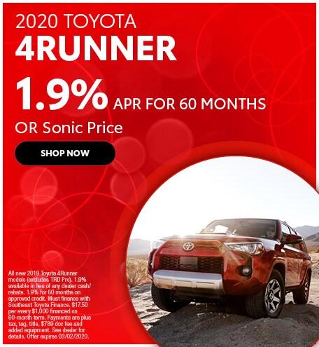Financing Offer : 1.9% APR for 60 months on select Toyota 4Runner models