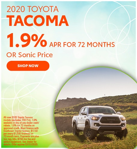 Financing Offer : 0.9% APR for 60 months on select Toyota Tacoma models