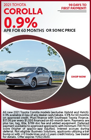 Financing Offer : 0.0% APR for 48 months on select Toyota Corolla models