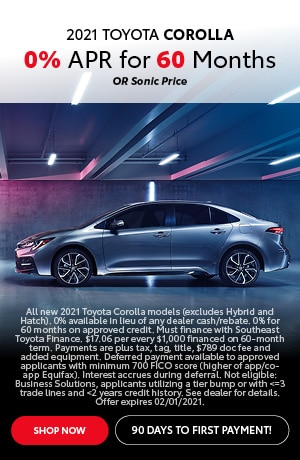 Financing Offer : 0.0% APR for 60 months on select Toyota Corolla models