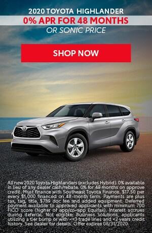 Financing Offer : 0.0% APR for 48 months on select Toyota Highlander models