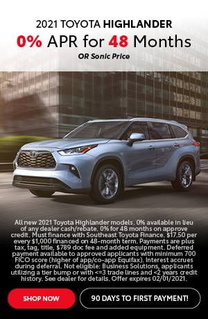 Financing Offer : 0.0% APR for 48 months on select Toyota models