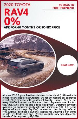 Financing Offer : 0.0% APR for 60 months on select Toyota RAV4 models