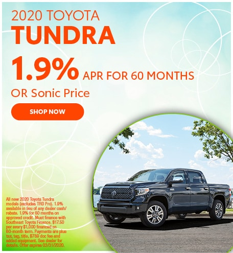 Financing Offer : 1.9% APR for 60 months on select Toyota Tundra models