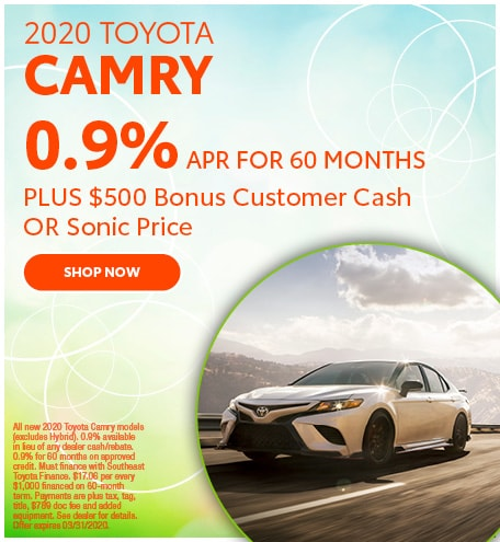 Financing Offer : $500 offer and 0.9% APR for 60 months on select Toyota models