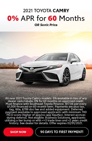 Financing Offer : 0.0% APR for 60 months on select Toyota models