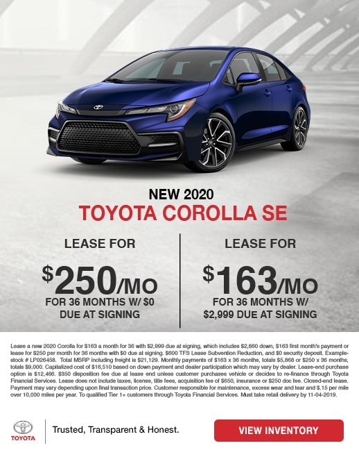 2020 Toyota Corolla SE Lease Special