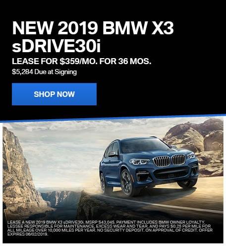 New 2019 BMW X3 sDRIVE30i