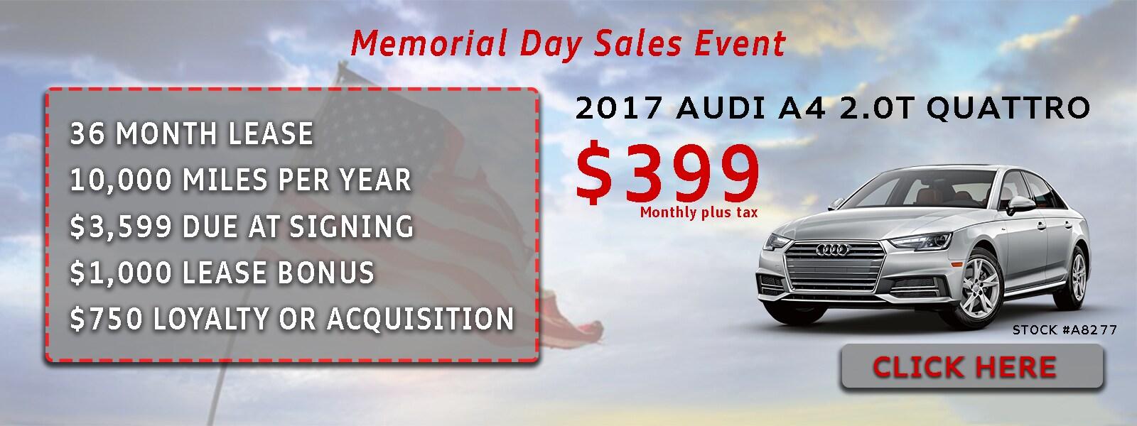 Memorial Day Car Sales 2017 >> Memorial Day Sales Event Audi Marin