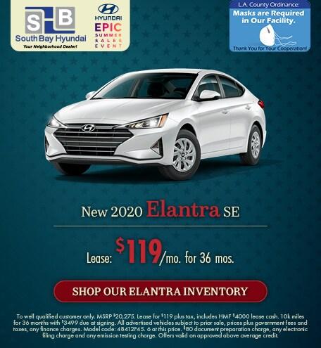 Mid-July Offer: 2020 Elantra SE Lease for $119/mo