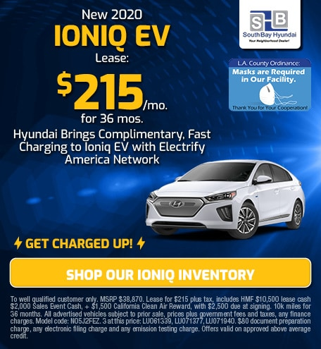 Charged-Up Lease: New 2020 Ioniq EV for $215/mo