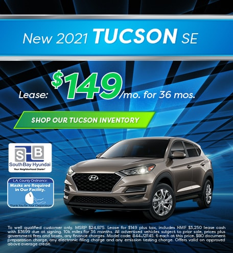 Mid-January Special: New 2021 Tucson SE Lease - $149/mo