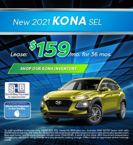 Mid-January Special: New 2021 Kona SEL Lease - $159/mo