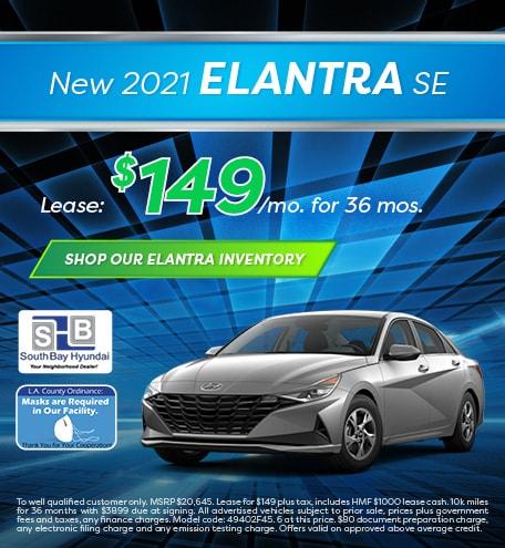 Mid-January Special: New 2021 Elantra SE Lease - $149/mo