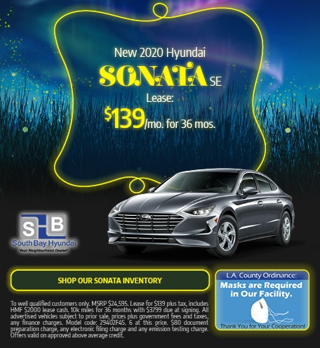 Mid-September Special: New 2020 Sonata SE Lease $139/mo