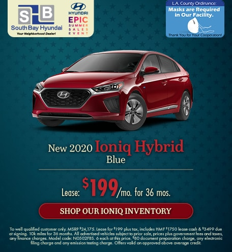 Mid-July Offer: 2020 Ioniq Hybrid Blue Lease for $199/mo