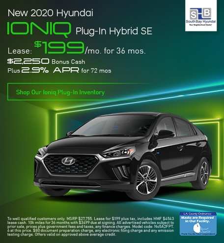 Late Oct Lease: 2020 Ioniq Plug-In Hybrid SE for $199/mo