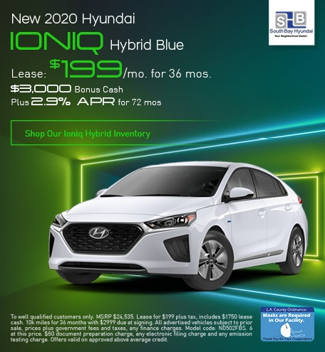 Late Oct Lease: 2020 Ioniq Hybrid Blue for $199/mo