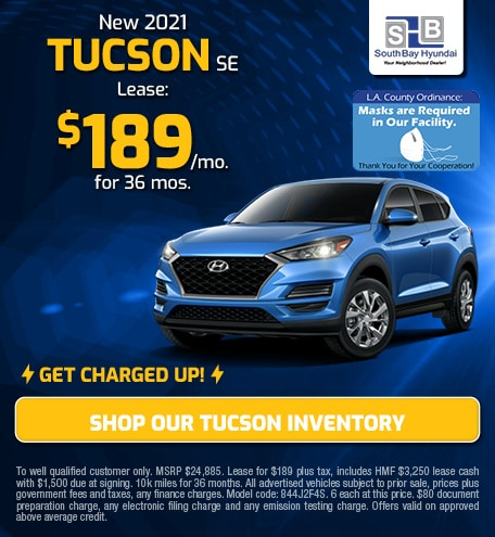 Charged-Up Lease: New 2021 Tucson SE for $189/mo