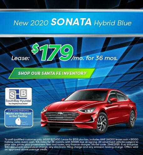 Mid-January Special: New 2020 Sonata Hybrid Blue Lease - $179/mo
