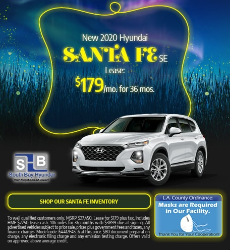 Mid-September Special: New 2020 Santa Fe SE Lease $179/mo