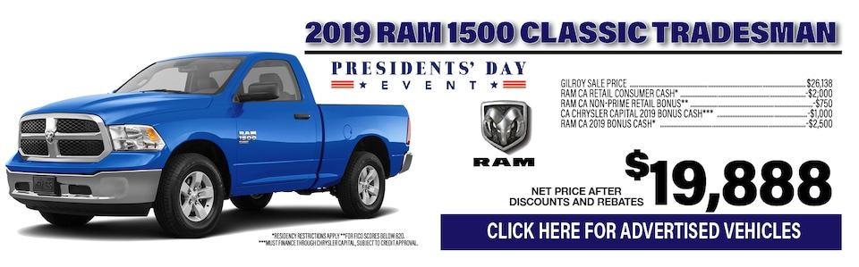 2019 Ram 1500 Classic Tradesman $19,888
