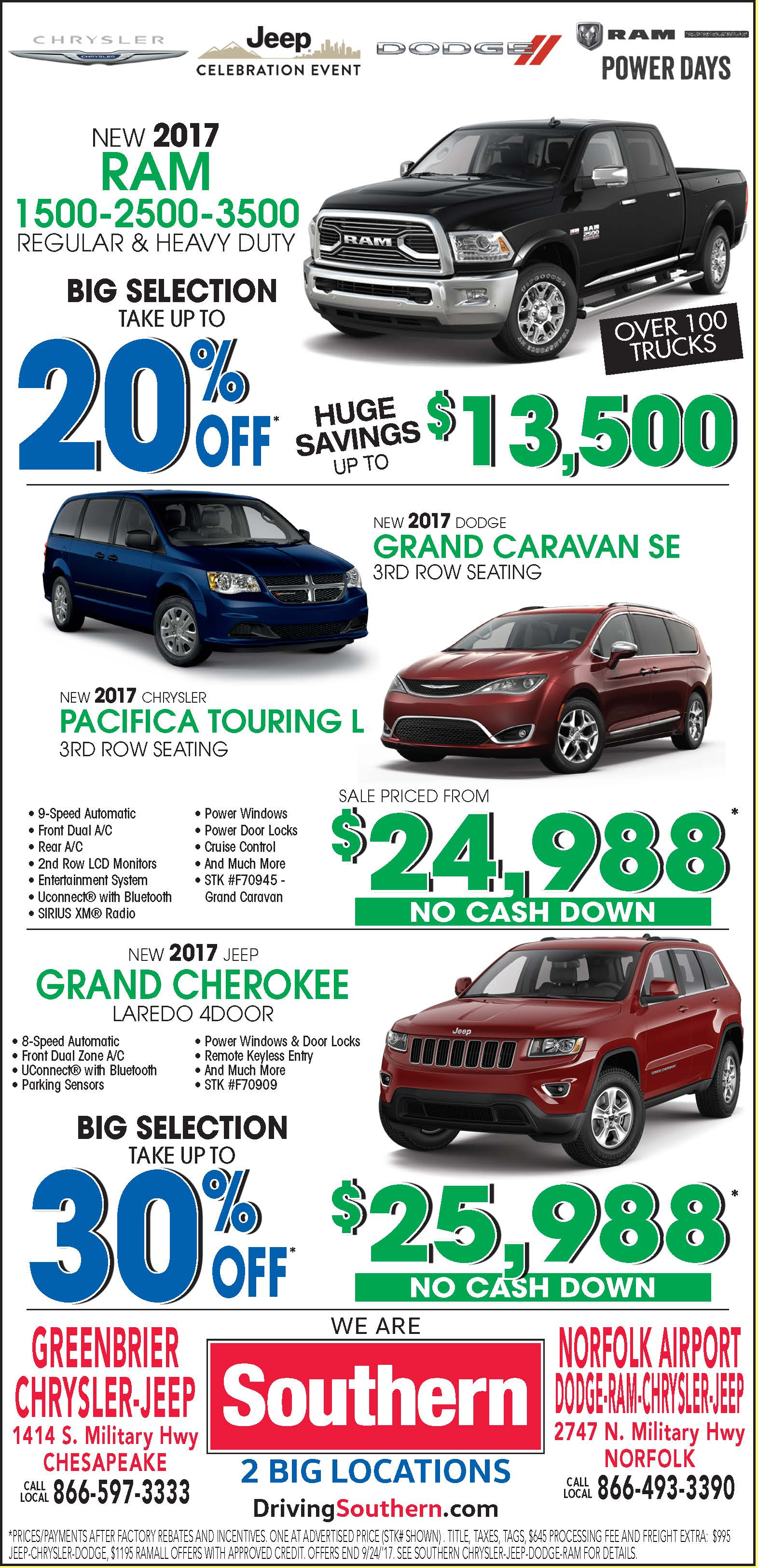 Southern Chrysler Jeep >> Weekly Ad Specials At Southern Norfolk Airport Dodge Chrysler Jeep Ram