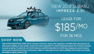 Lease a new 2019 Impreza for $185/Month