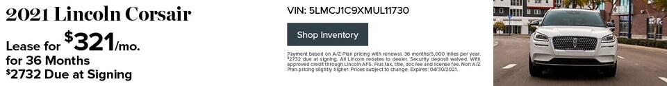 2021 Lincoln Corsair- April Offer