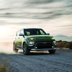 Green 2020 Kia Soul on road