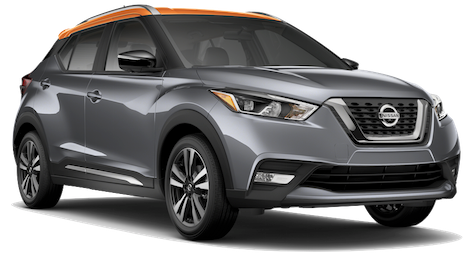 A silver 2018 Nissan Kicks with an Orange Top