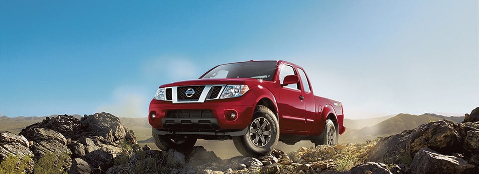 2019 Nissan Frontier parked on rocks