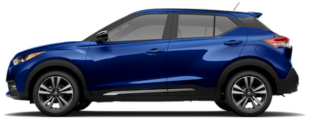The side view of a blue 2018 Nissan Kicks