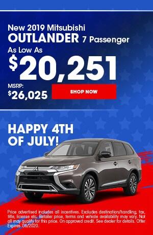 2019 Mitsubishi Outlander - July Offer