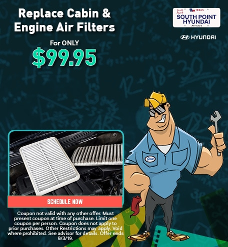 Replace Cabin & Engine Air Filters