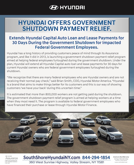 SOUTH SHORE HYUNDAI Payment Relief for Government Employees