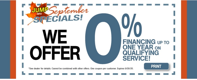 0% Financing On Qualifying Service