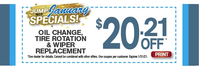 January Oil Change, Tire Rotation, Wiper Replacement Special