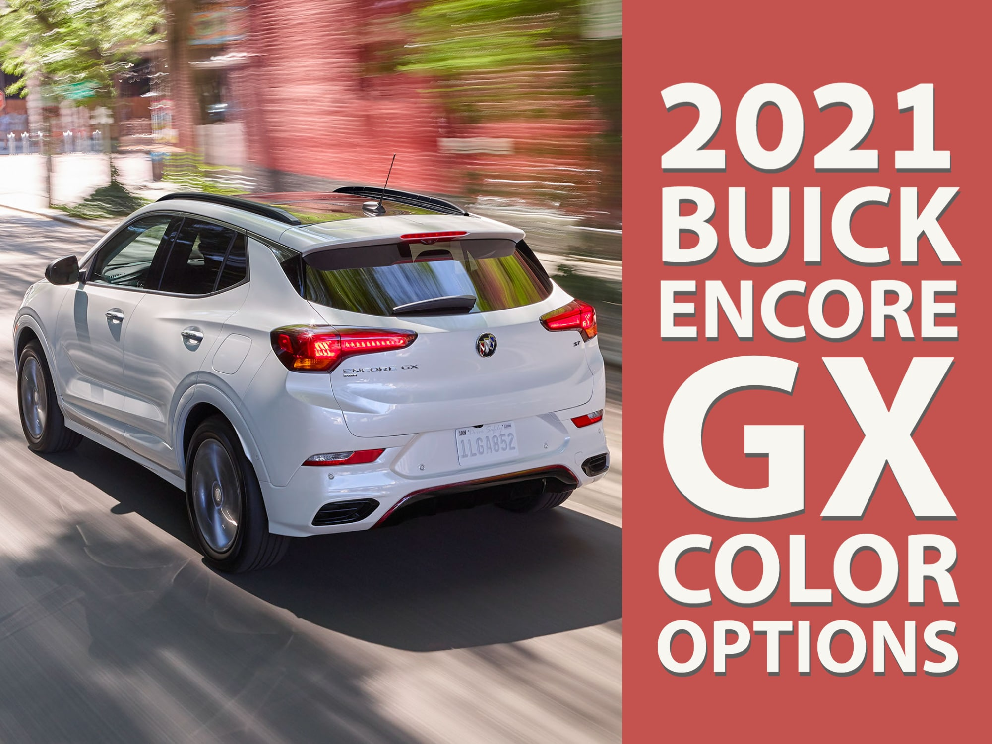 Rear 3/4 View of Buick Encore GX in motion