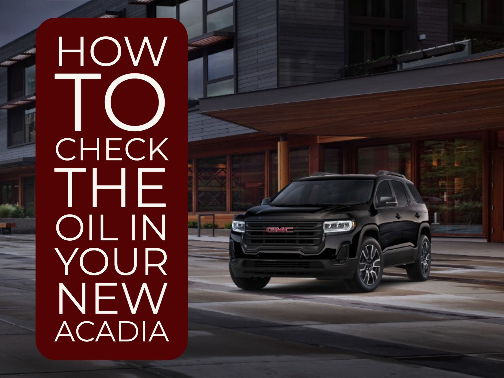 Front 3/4 View of Black Acadia SUV parked