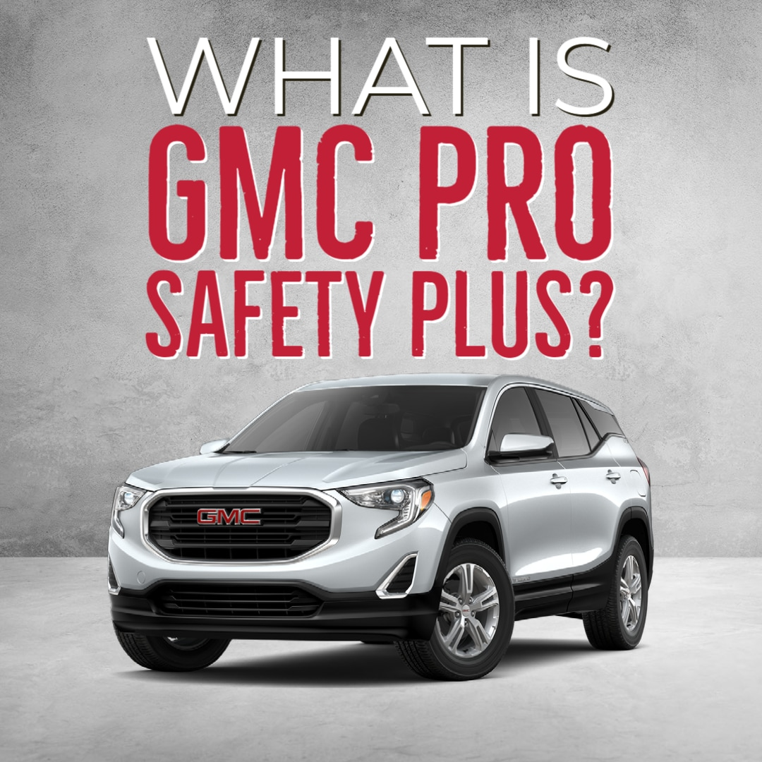 """Silver GMC Terrain on white grunge textured background with words """"What Is GMC Pro Safety Plus?"""""""